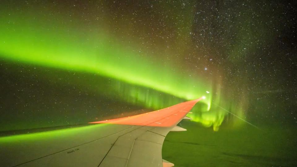 Magical Aurora Australis seen from a plane